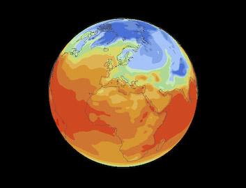 Gkobe showing world's surface temperatures