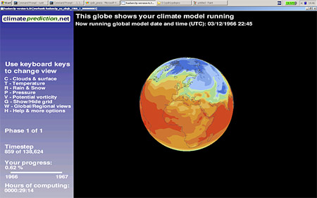 The computer model in operation showing global surface temperatures
