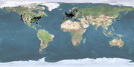 Map of active participants around the world