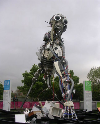 Sculpture made out of recycled electronics